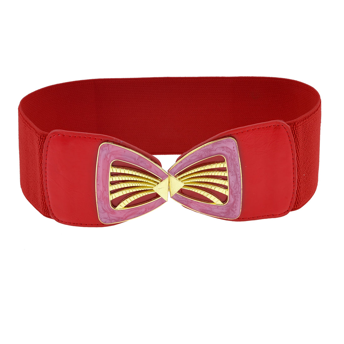 Red Elastic Cotton Fabric Band Gold Tone Seashell Shape Buckle Belt fot Girls