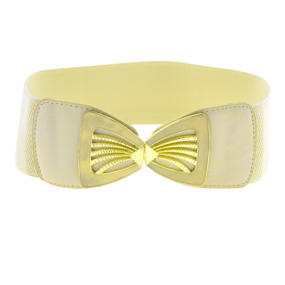 White Elastic Band Gold Tone Hollow Out Seashell Shape Buckle Belt for Ladies