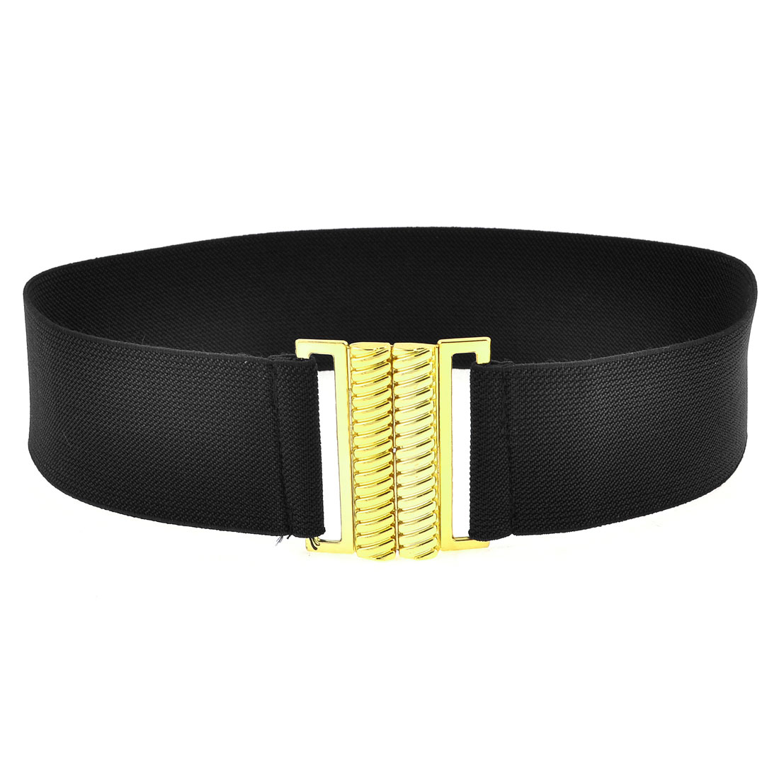 Black Elastic Band Gold Tone Screw Thread Shape Buckle Belt for Girls