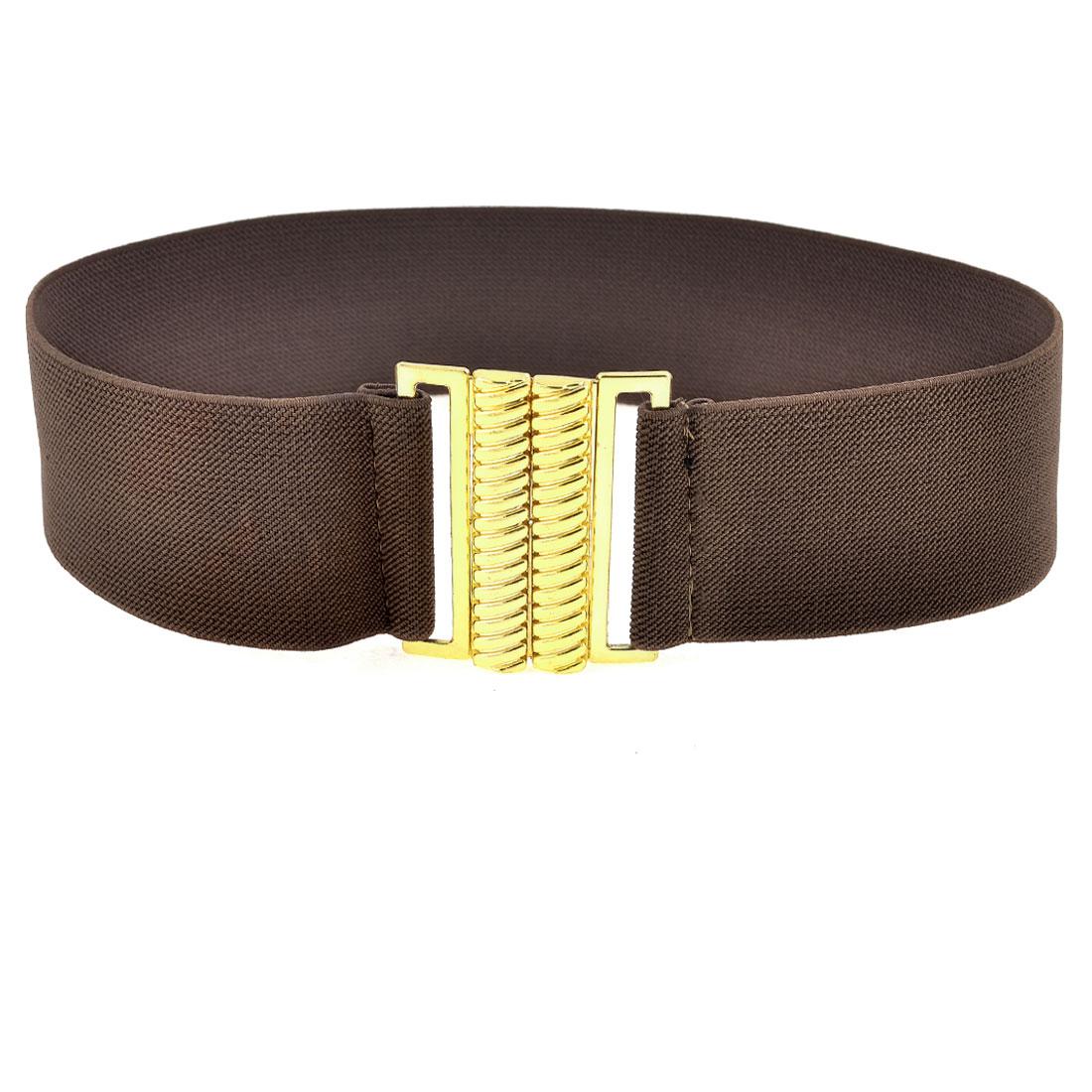 Dark Brown Elastic Band Screw Thread Shape Buckle Belt for Women