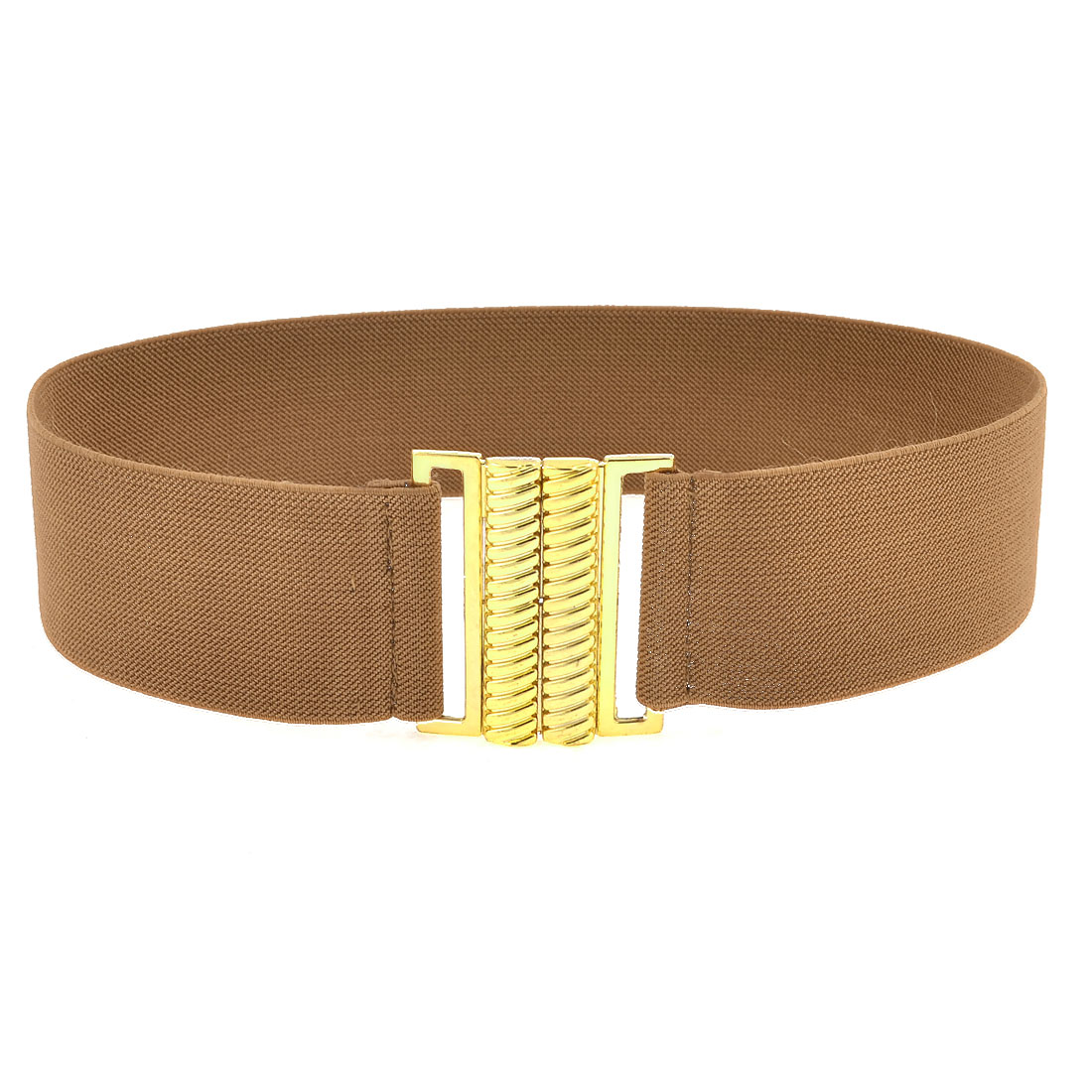 Brown Band Gold Tone Screw Thread Shape Buckel Dress Belt for Ladies