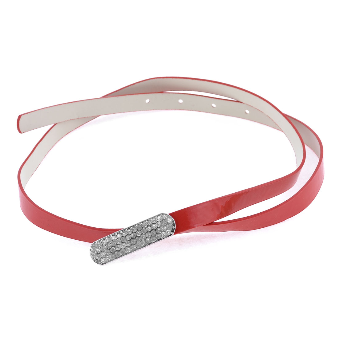 Red Slim Faux Leather Rhinestone Decor Buckle Leisure Belt for Women