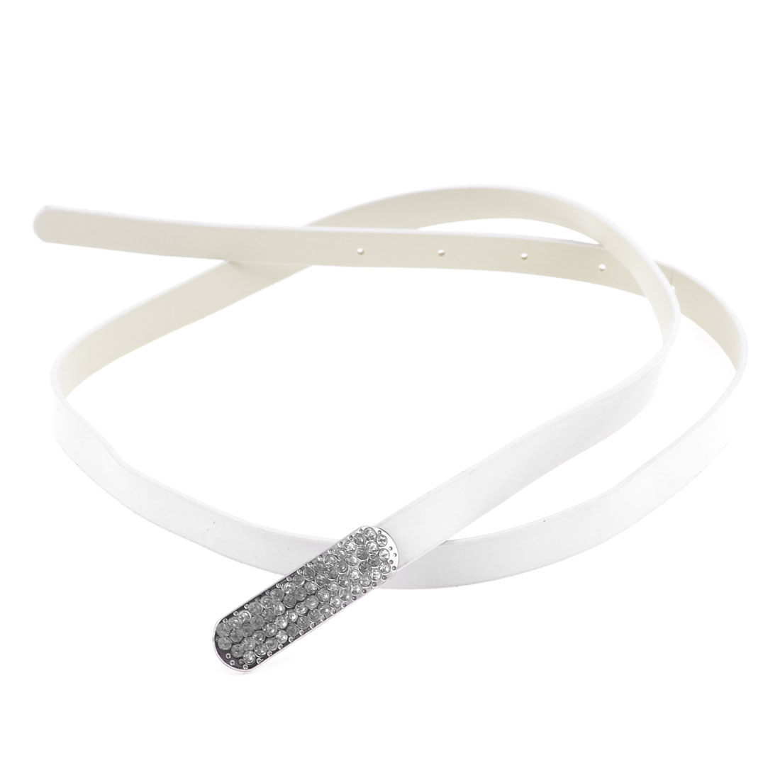White Slim Faux Leather Multiple Rhinestones Decor Waist Belt for Girls