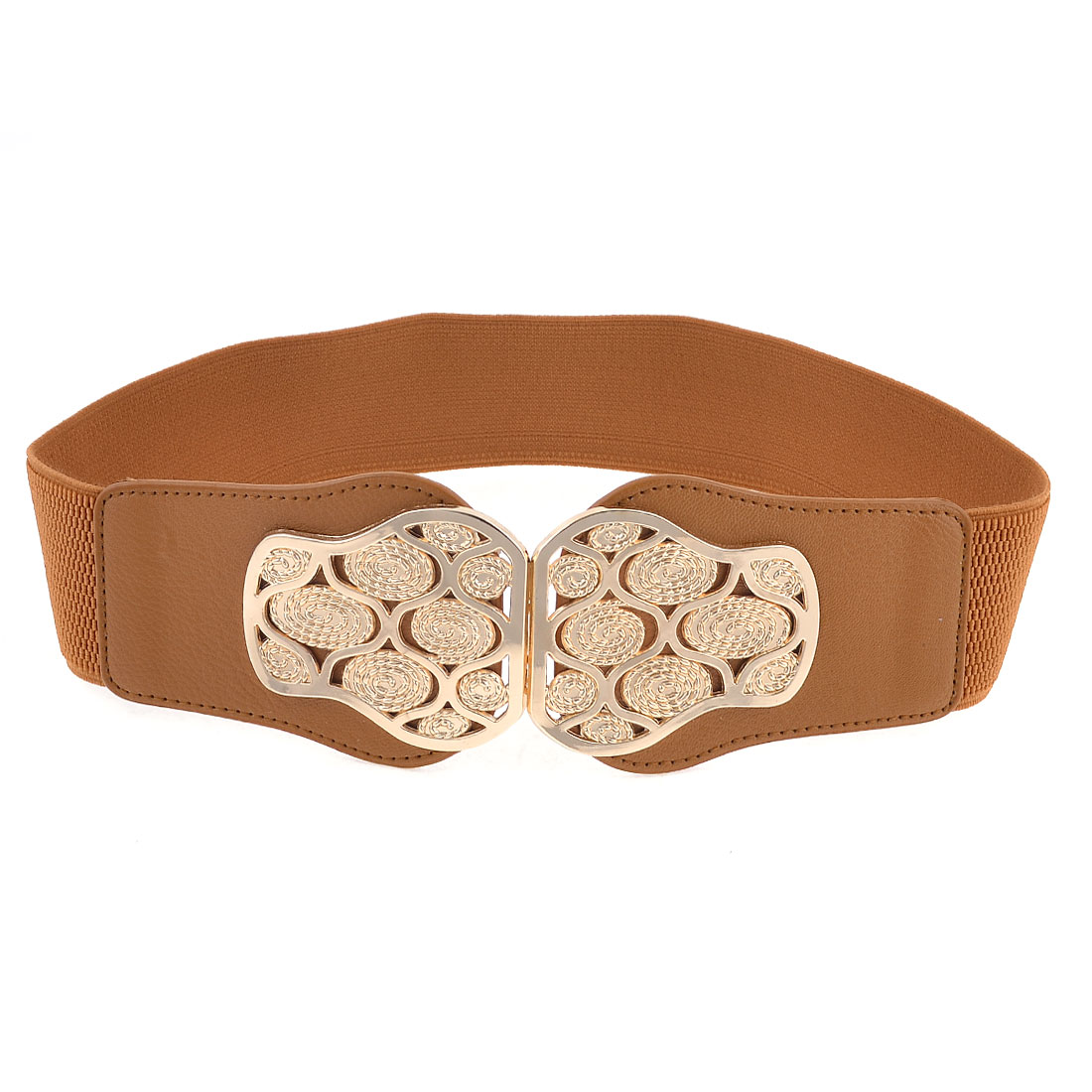 Brown Faux Leather Stretch Band Twine Shape Design Waist Belt for Ladies