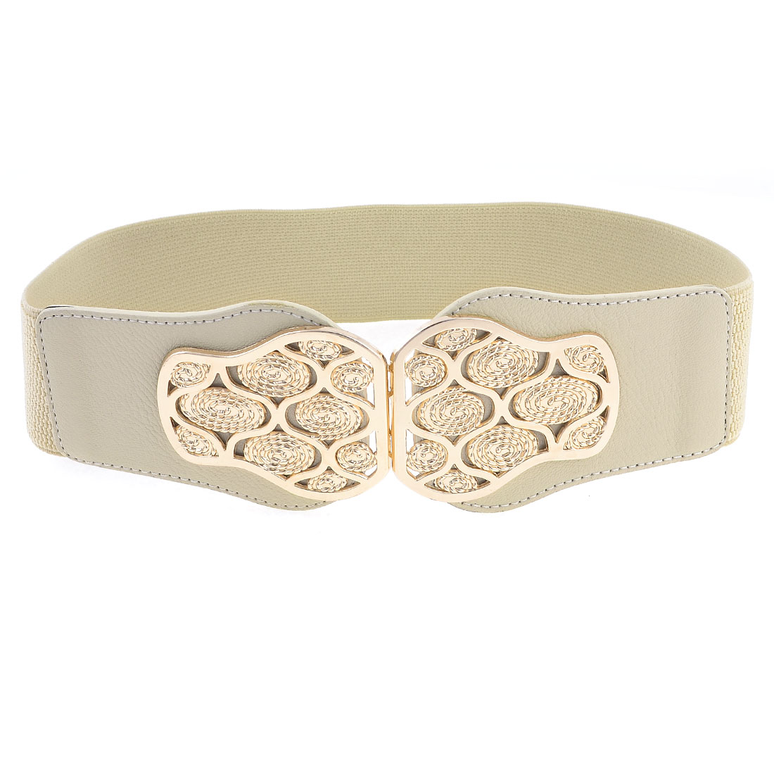 Coral Color Elastic Band Metal Gold Tone Twine Shape Decor Belt for Girls