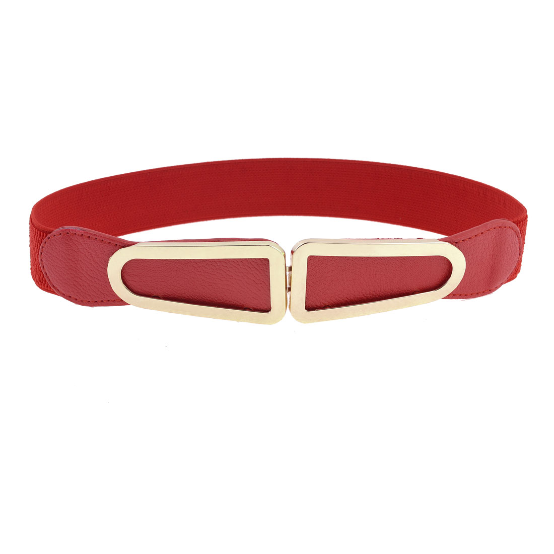 Red Elastic Cotton Fabric Band Copper Tone Metal Buckle Waist Belt for Women