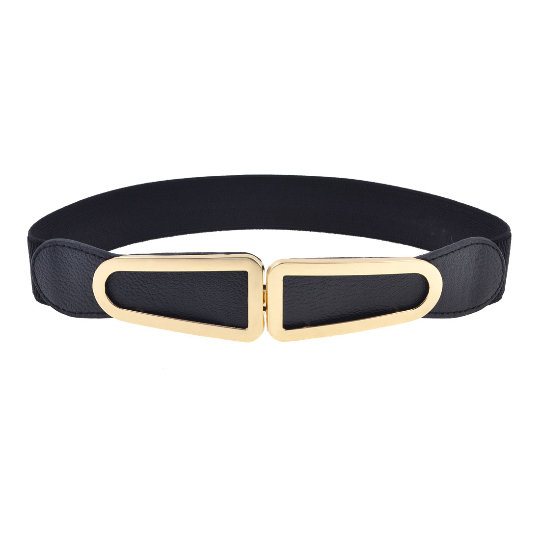 Black Elastic Band Copper Tone Single Pin Buckle Waist Belt for Girls