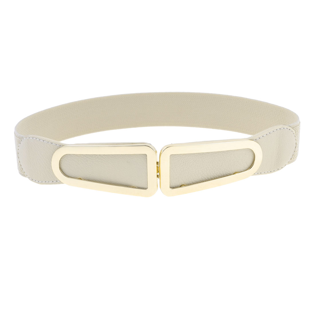 Beige Elastic Band Faux Leather Litchi Pattern Belt for Ladies