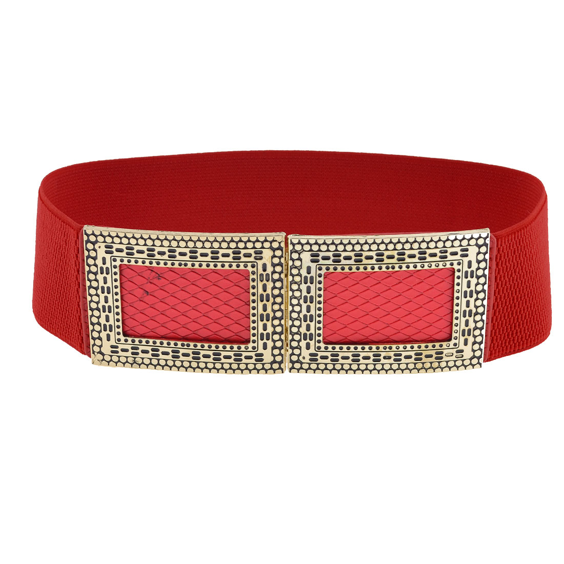 Red Snake Print Metal Hidden Interlocking Buckle Waist Belt for Ladies