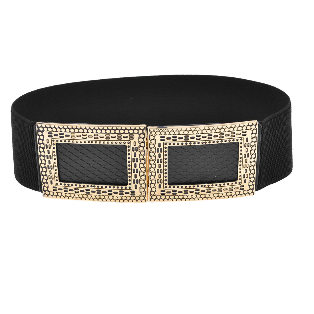 Black Snake Pattern Retangle Metal Interlocking Buckle Belt for Women