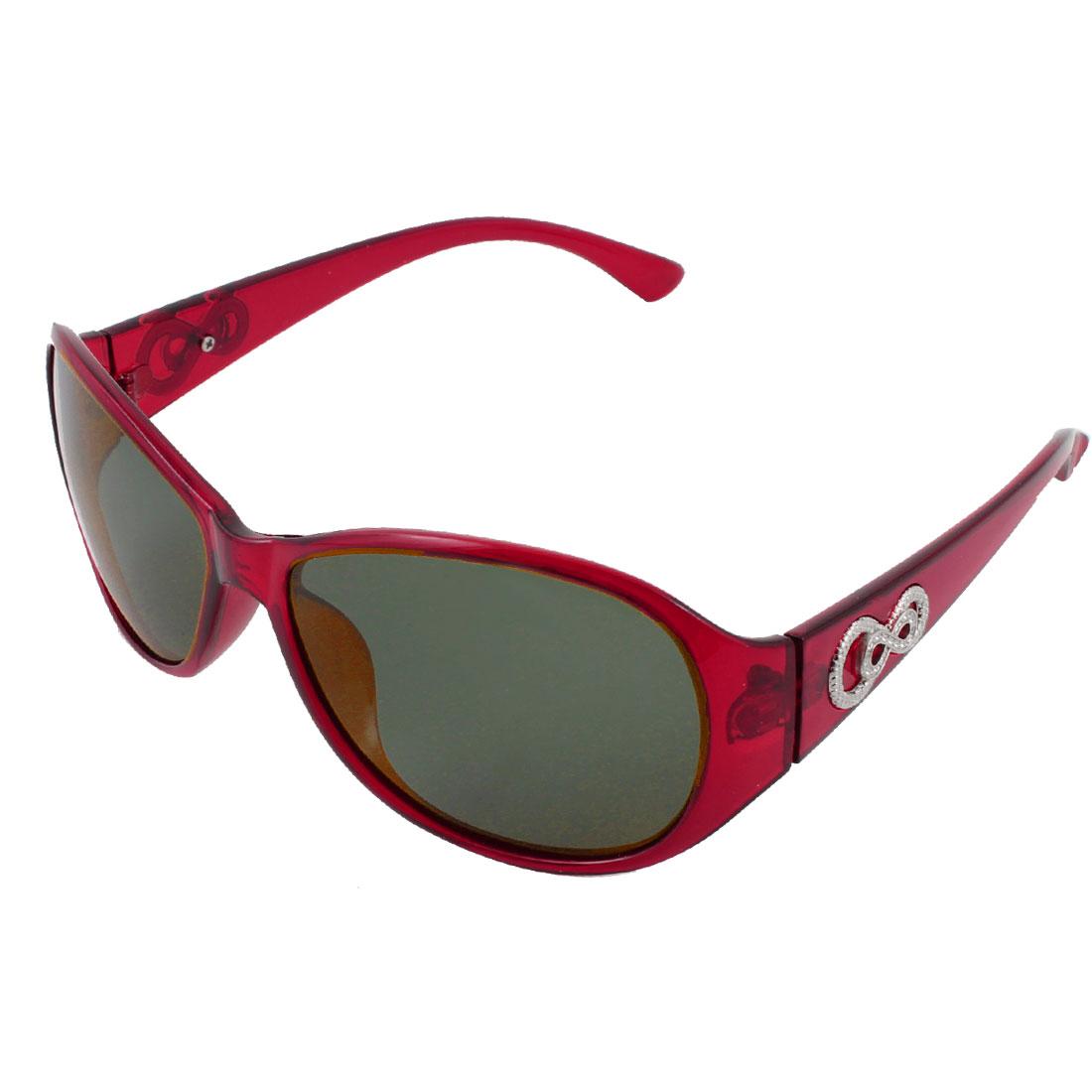 Burgundy Full Frame Single Bridge Sports Polarized Sunglasses for Women