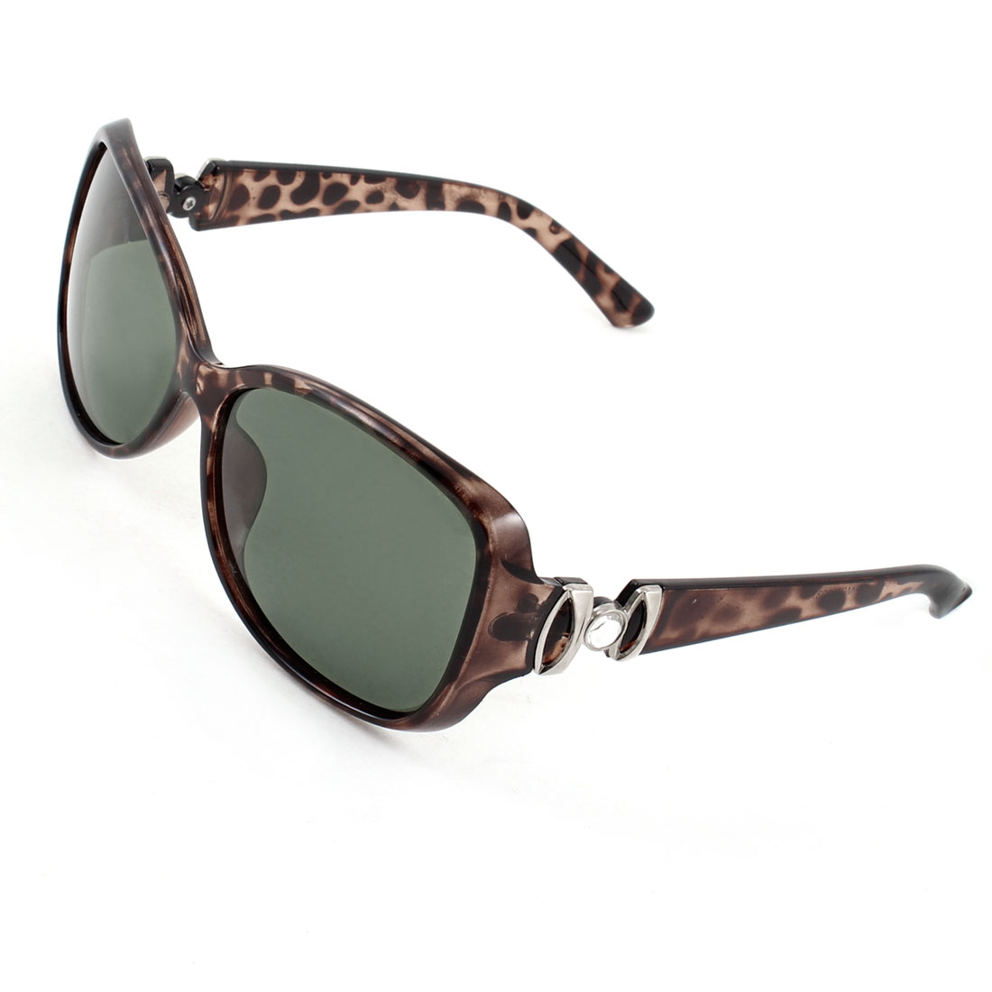 Lady Leopard Print Crystal Decor Arms Full Frame Green Lens Polarized Sunglasses