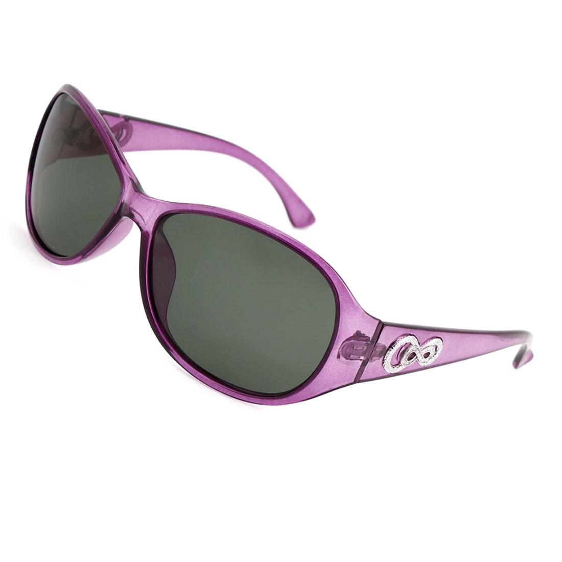Lady Woman Purple Full Frame Single Bridge Sports Polarized Sunglasses
