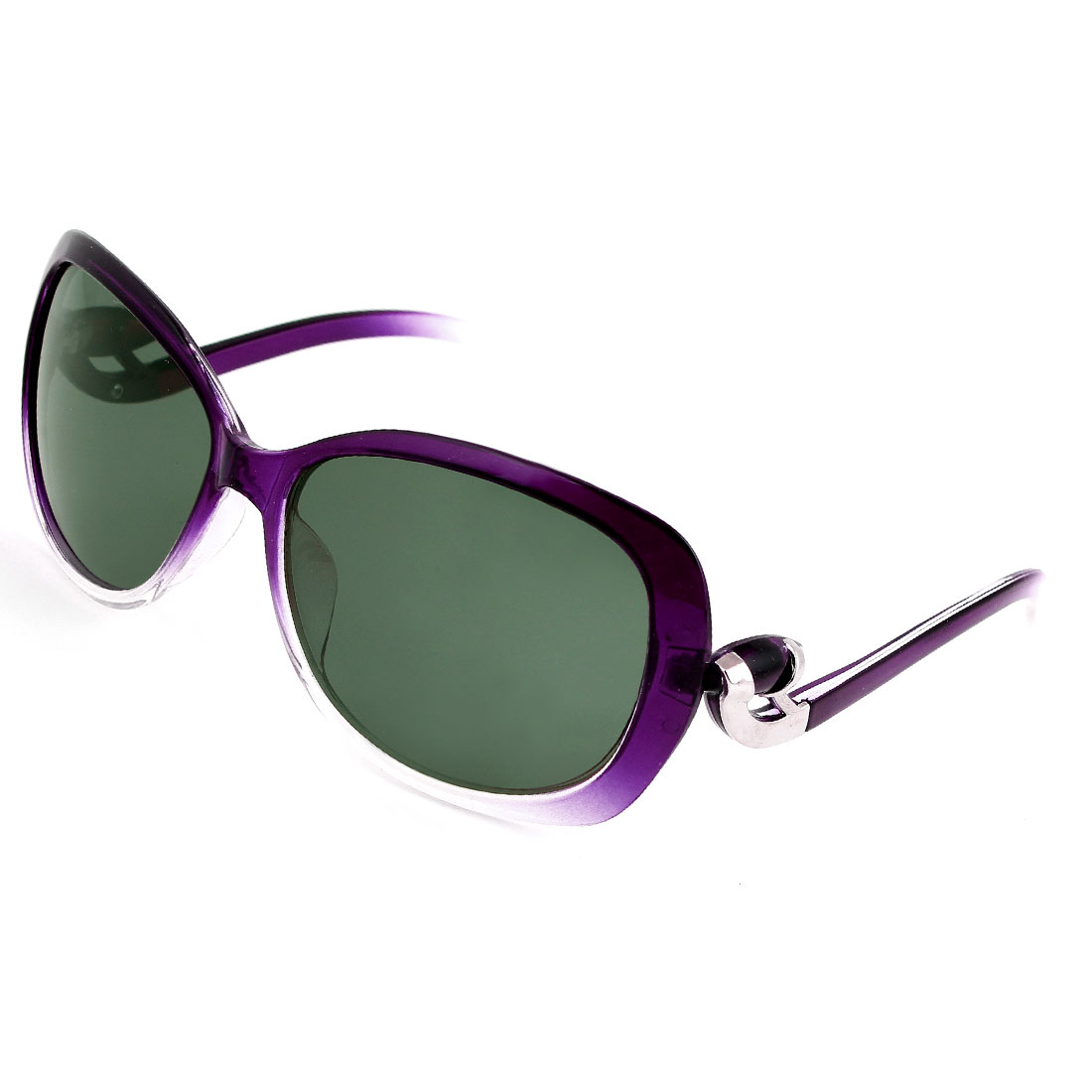 Lady Teardrop Shape Gray Lens Eyeglasses Polarized Sunglasses Purple