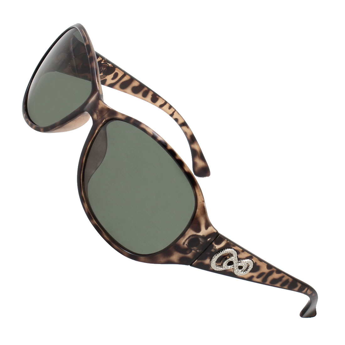 Leopard Print Plastic Arms Full Frame Green Teardrop Lens Polarized Sunglasses for Lady