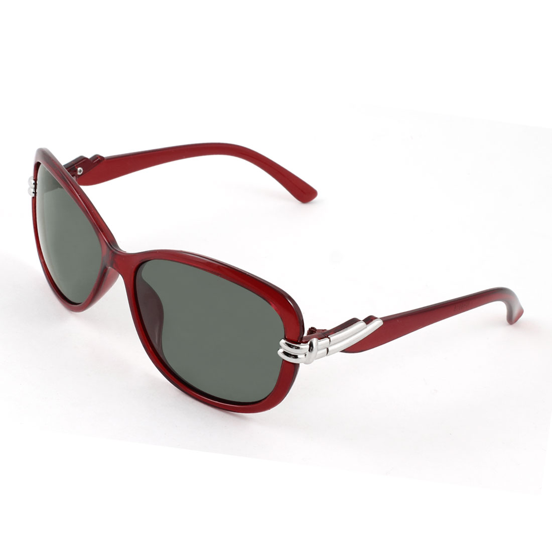 Lady Teardrop Shape Gray Lens Eyeglasses Polarized Sunglasses Burgundy