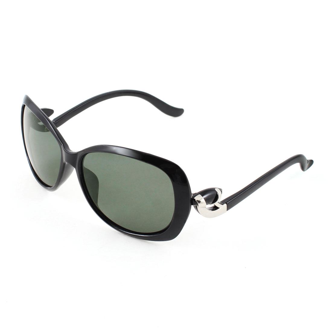 Teardrop Shape Green Lens Eyeglasses Polarized Sunglasses Black for Woman Ladies