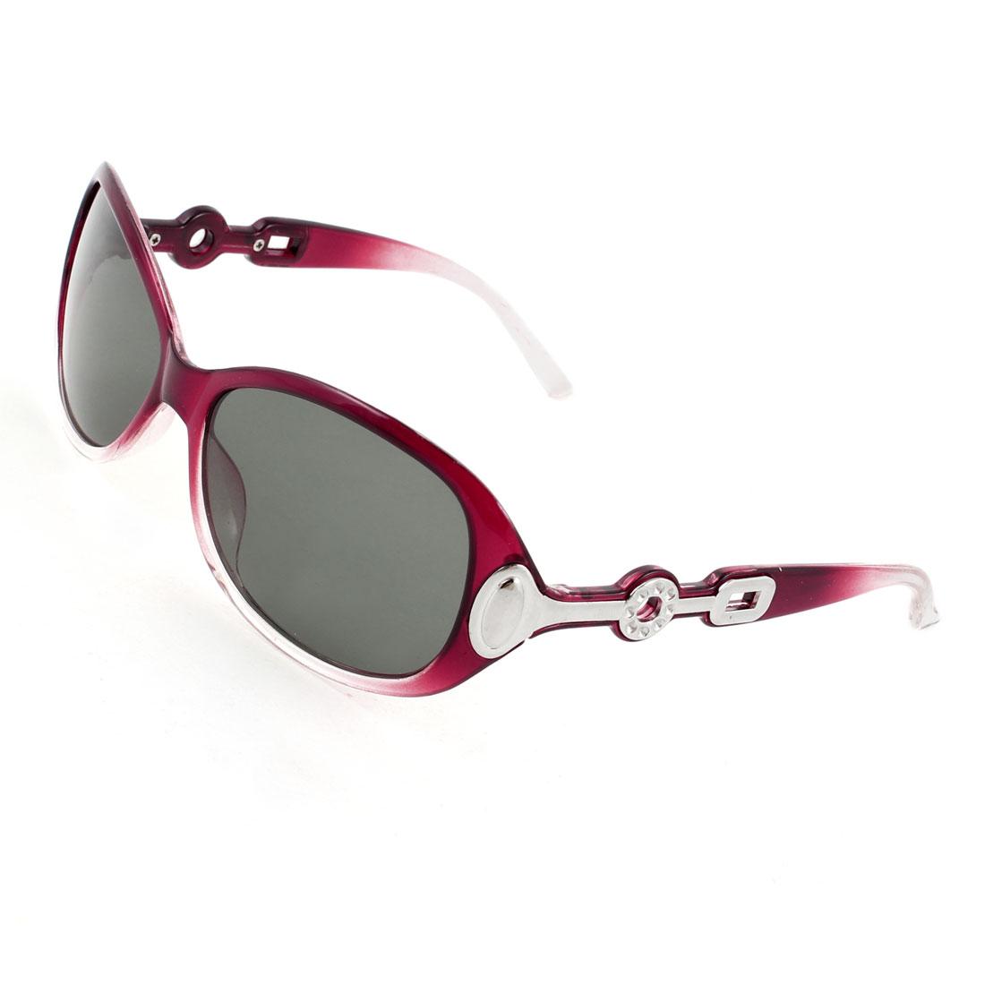 Burgundy Clear Full Rim Green Lens Driving Sports Polarized Sunglasses for Women