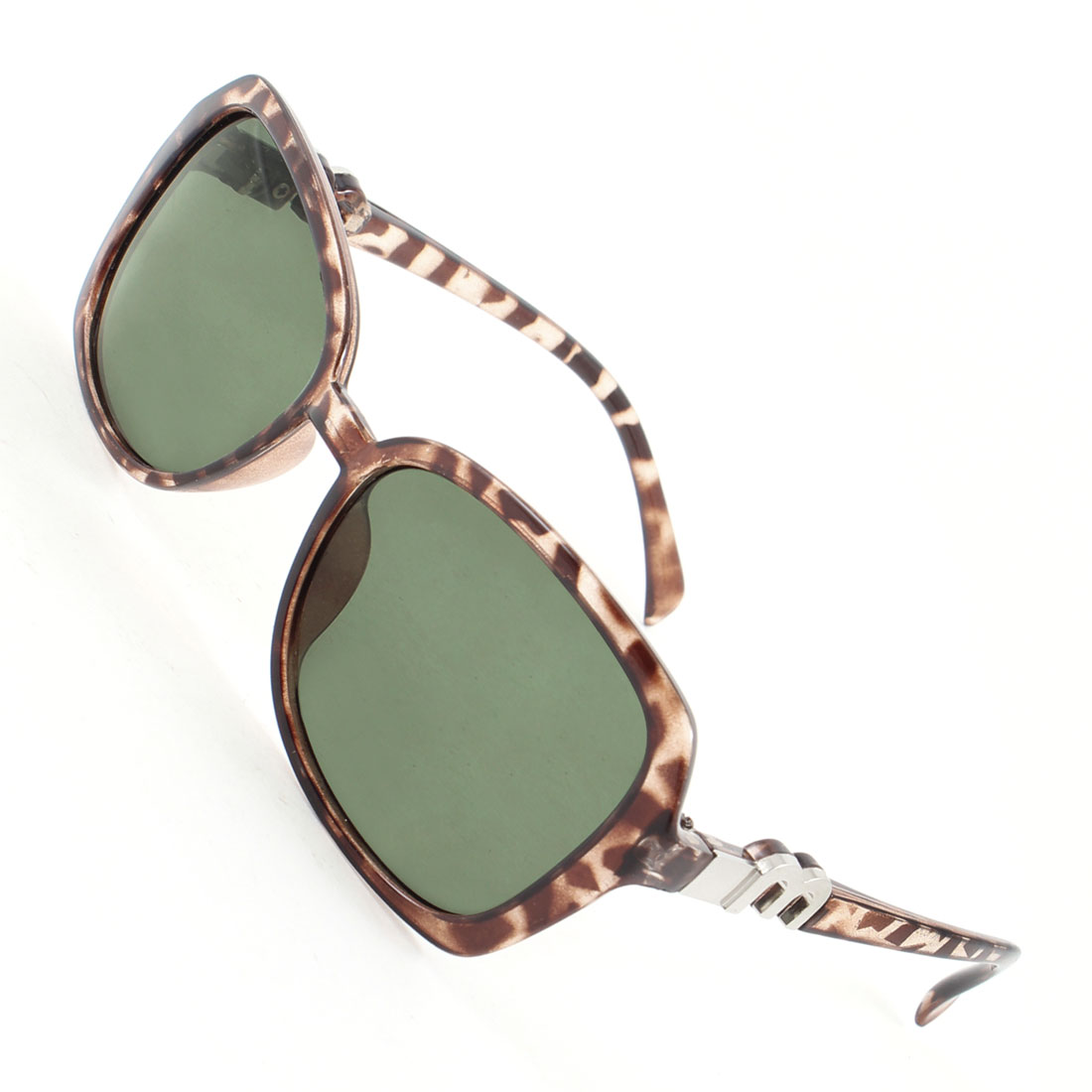 Leopard Print Plastic Arms Full Frame Green Lens Polarized Sunglasses for Lady