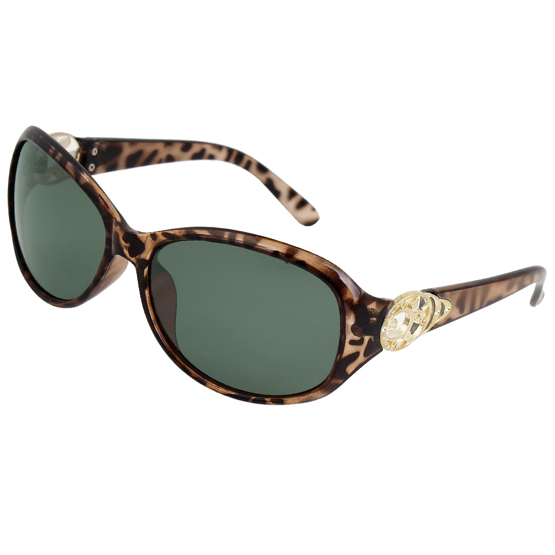 Woman Leopard Print Plastic Frame Green Lens Sports Outdoor Fishing Polarized Sunglasses