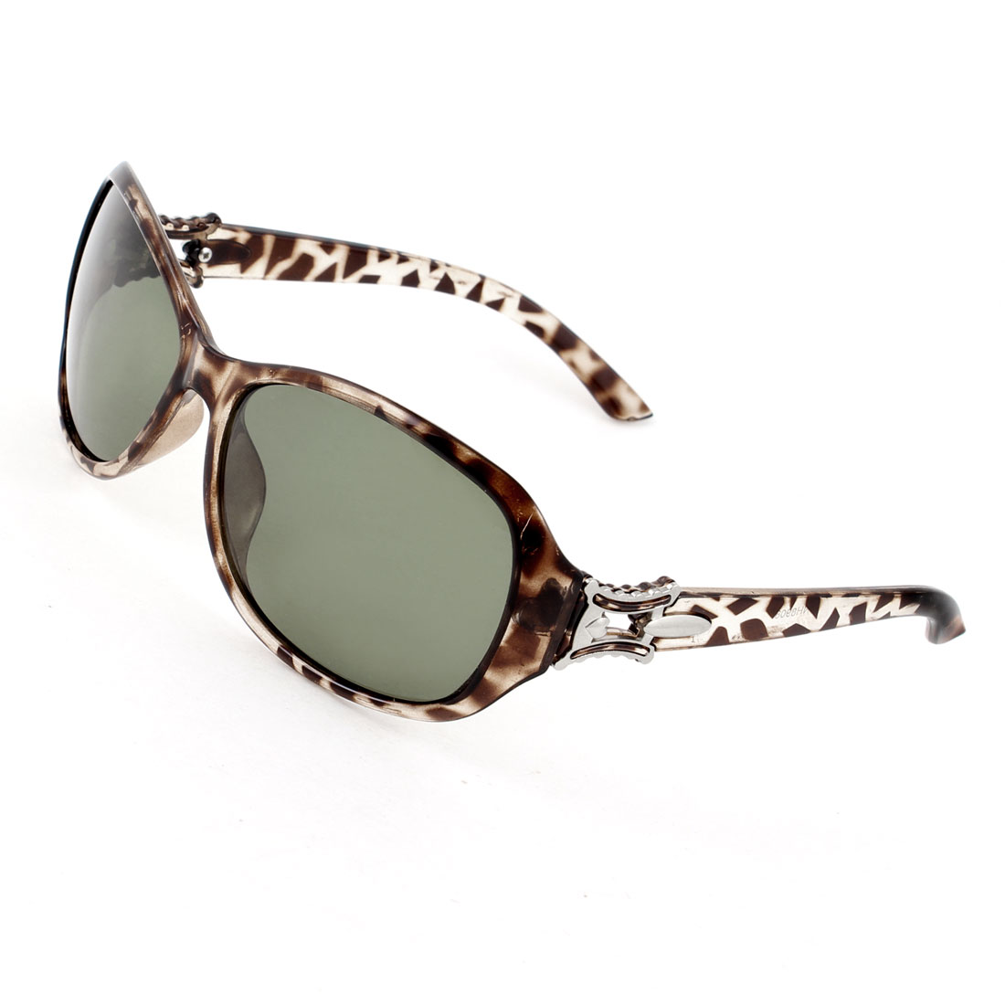 Lady Leopard Print Plastic Arms Full Frame Green Lens Polarized Sunglasses