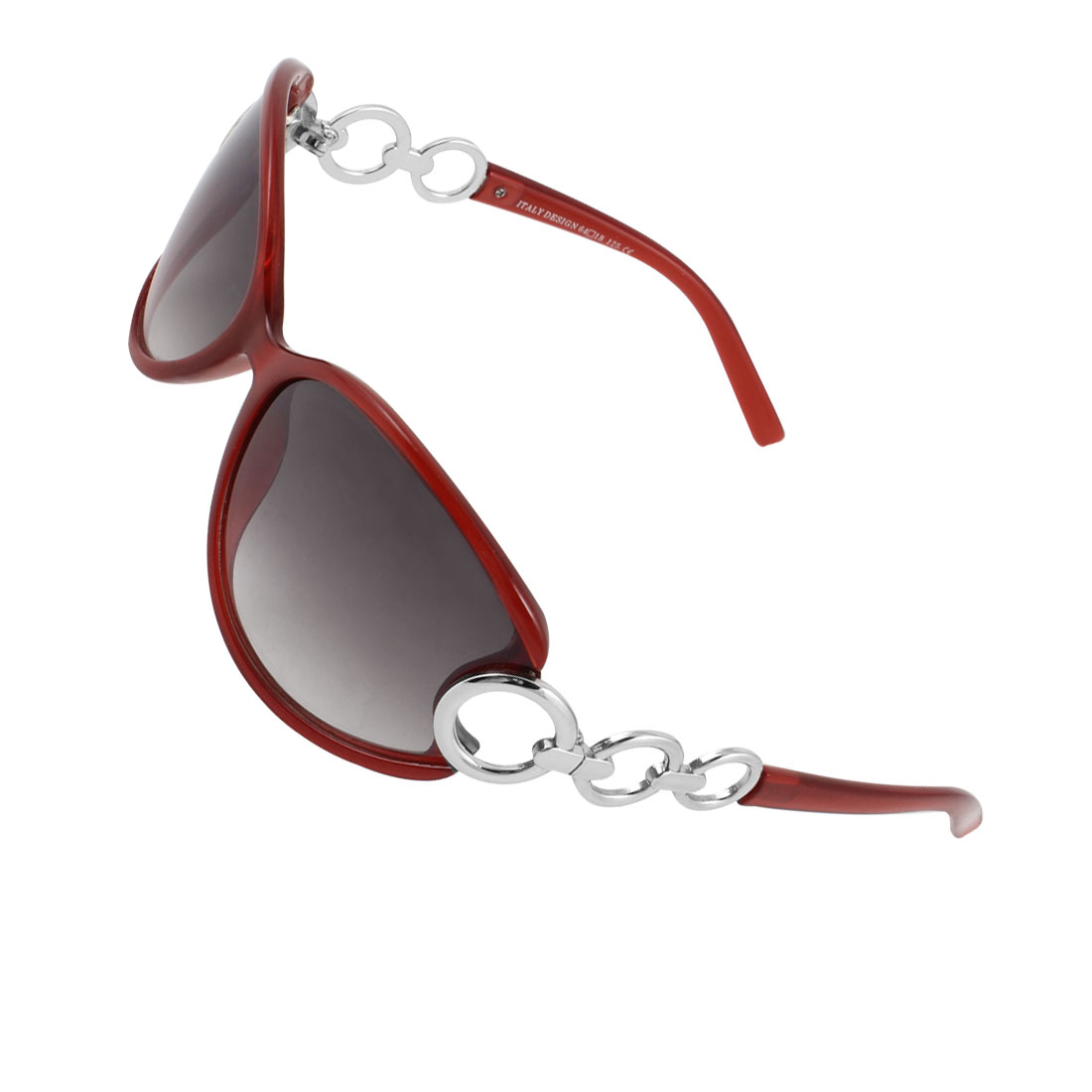 Women Burgundy Plastic Full Rim Single Bridge Teardrop Shape Lens Sunglasses