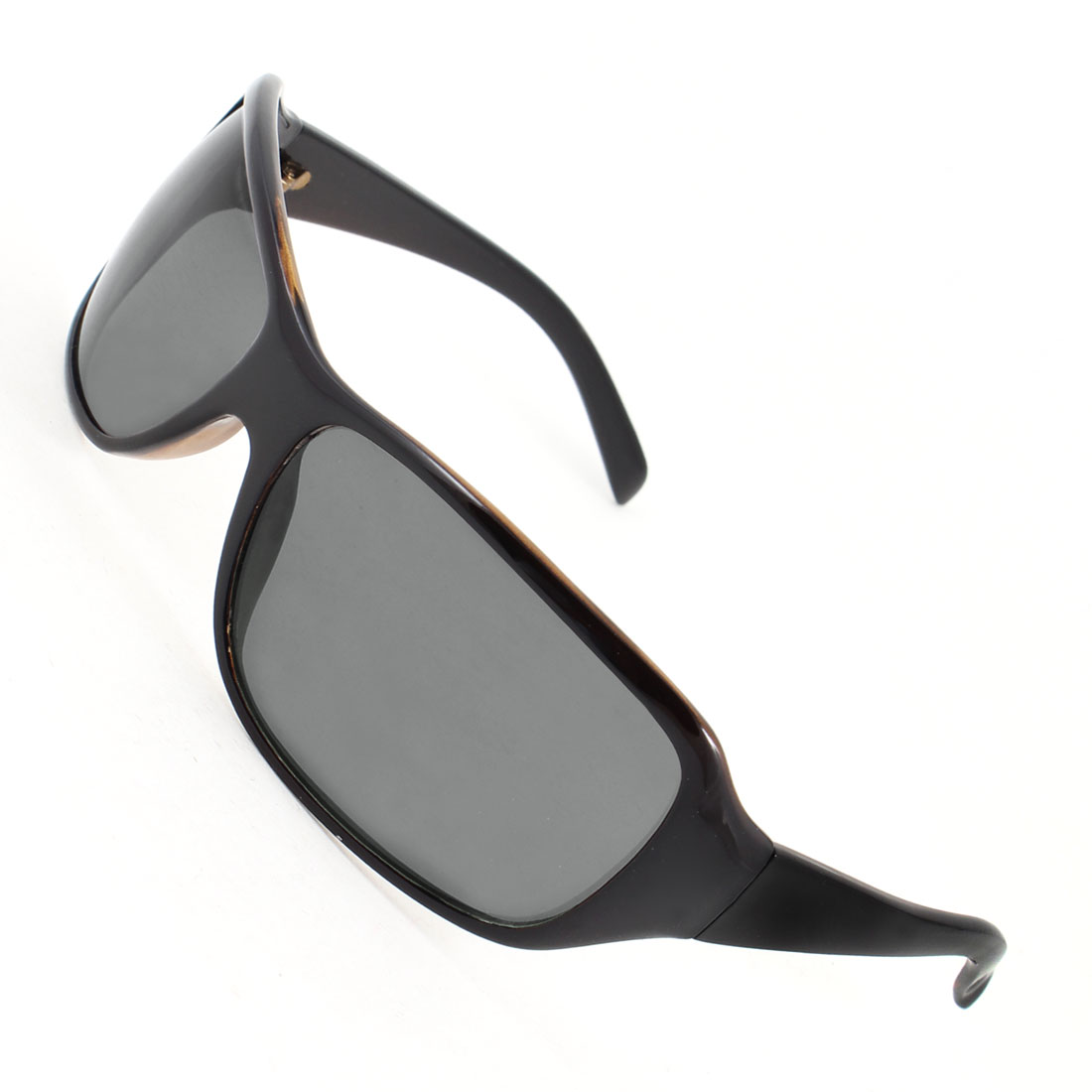 Unisex Black Full Frame Plastic Rectangle Shaped Lens Sunglasses