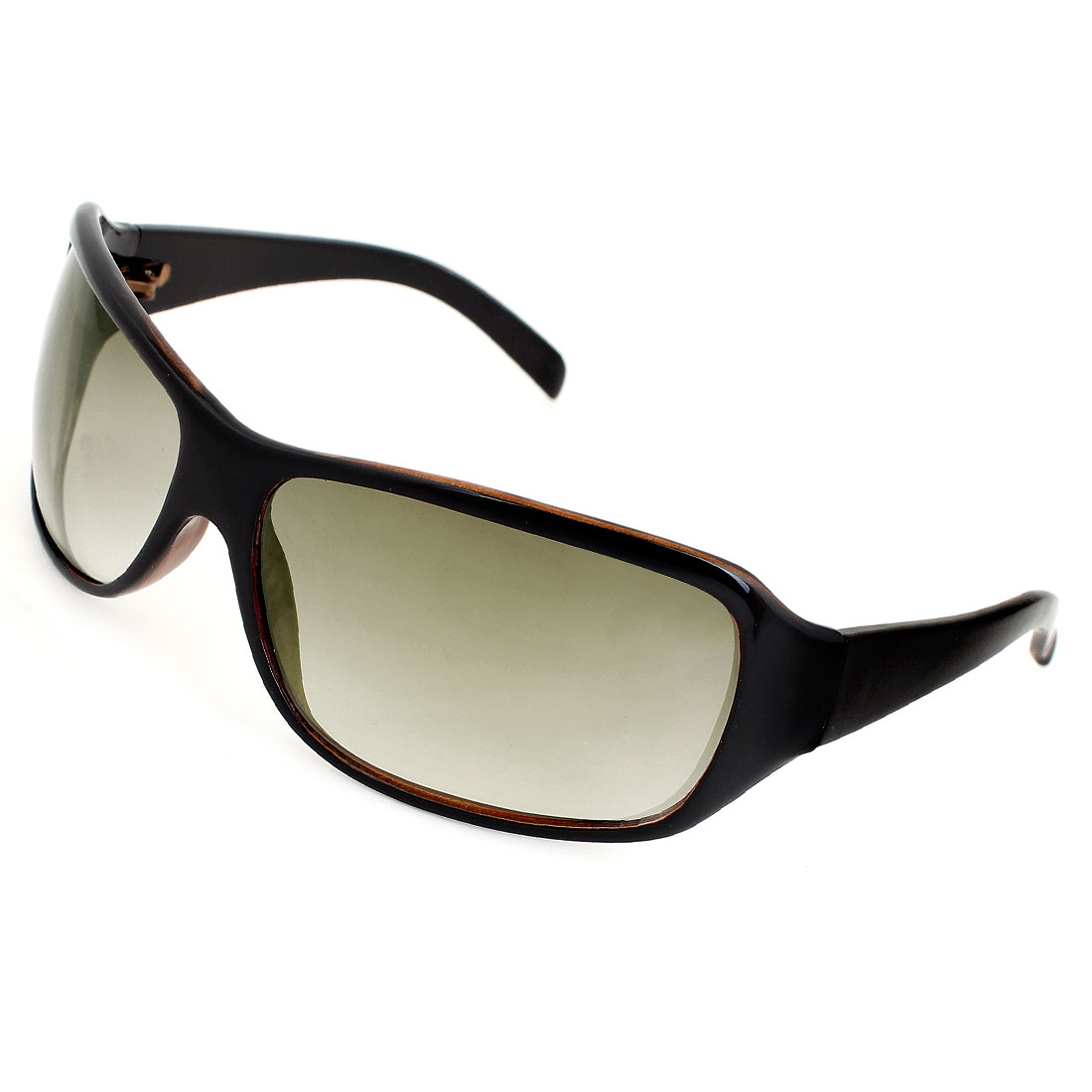 Lady Men Black Plastic Rimmed Wide Temple Leisure Sunglasses Eyewear