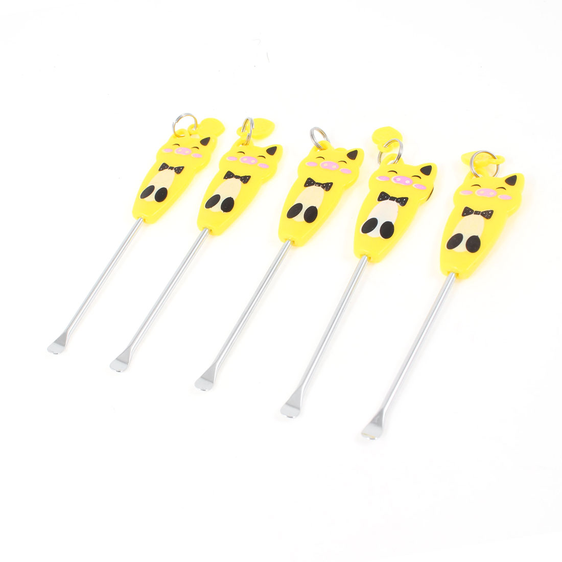 Yellow Black Cartoon Print Metal Ear Wax Remover Ears Cleaner Tools Set 5 Pcs