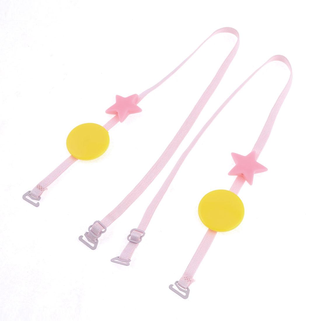 Lady Plastic Stars Decor Adjusting Lingerie Bra Straps Pink Pair