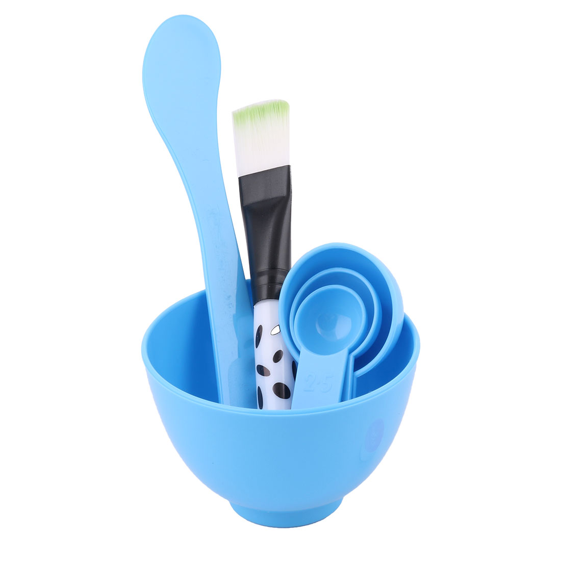 Blue 4 in 1 Cosmetic Tool Mask Mixing Stick Brush Spoon Bowl Kit
