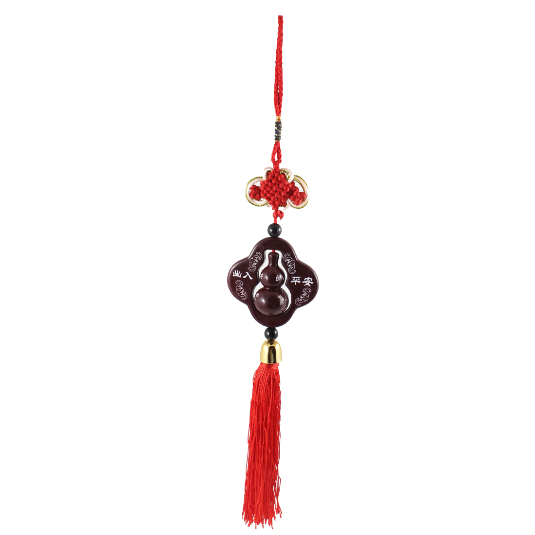Cars Buddha Print Wooden Gourd Detail Red Burgundy Tassel Hanging Ornament Decor