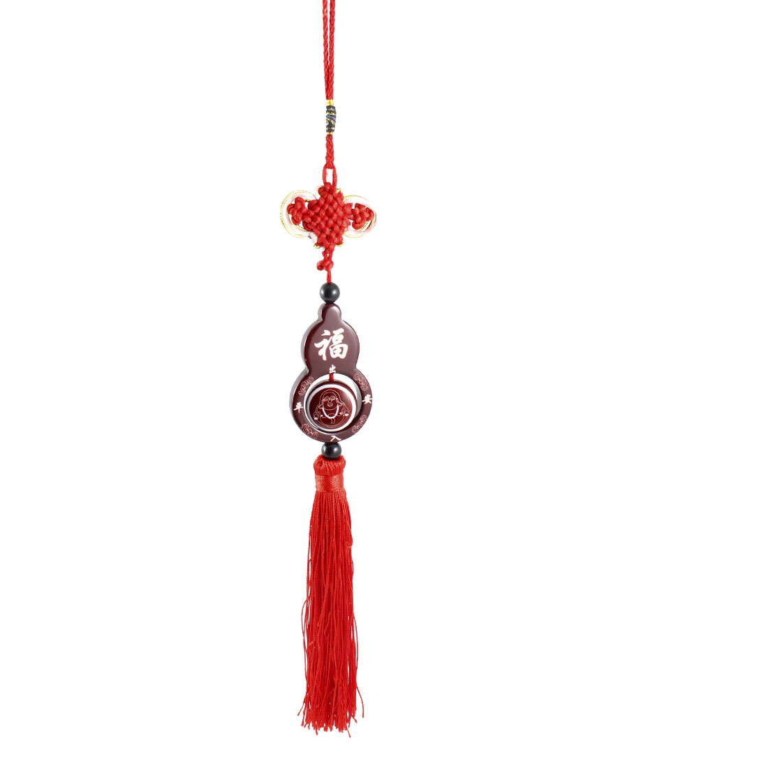 Home Room Tathagata Print Gourd Shape Wooden Pendant Burgundy Red Hanging Decor