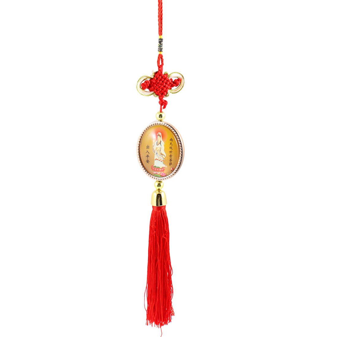 Car Manual Braid Chinese Knot Avalokitesvara Detail Gold Tone Red Hanging Decor