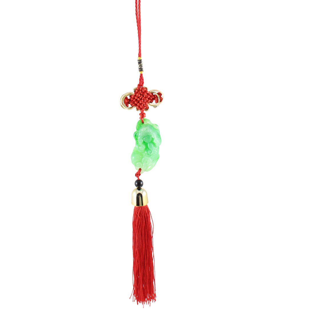 Cars Home Off White Green Pixiu Pandent Red Tassel Hanging Ornament Decor