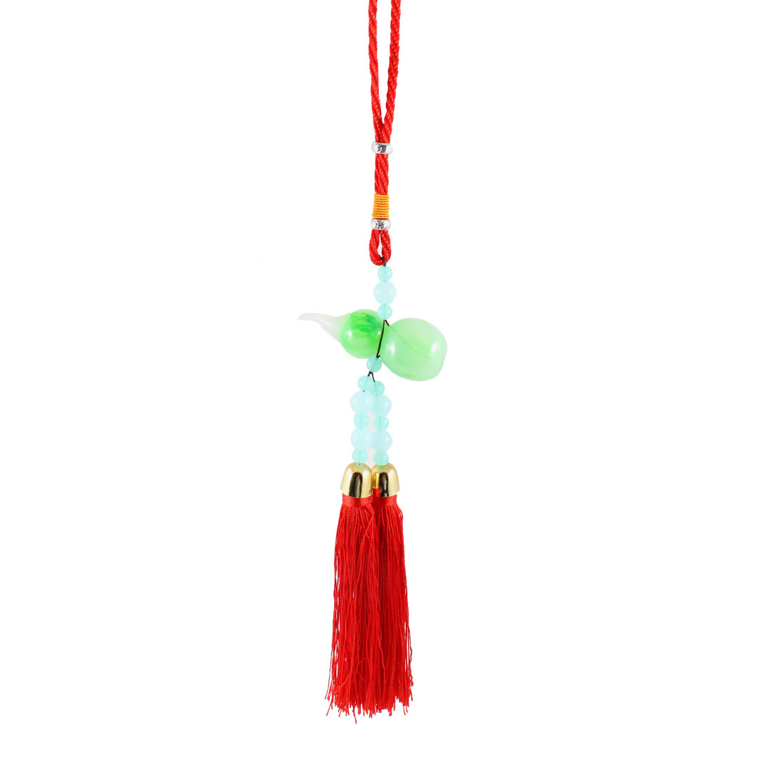 Car Home Red Green Baby Blue Beads Gourd Pendant Tassel Hanging Decor Ornament