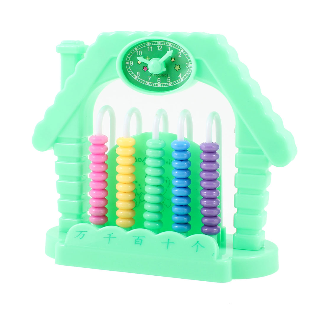 Children Green Clock Accent 5 Rows Abacus Counting Learning Tool