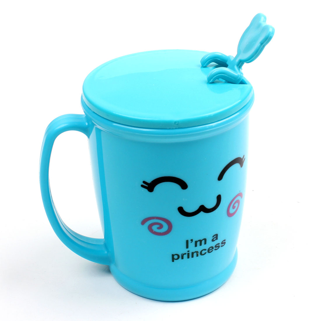 260ml Maya Blue Letter Cartoon Pattern Plastic Water Cup w Spoon
