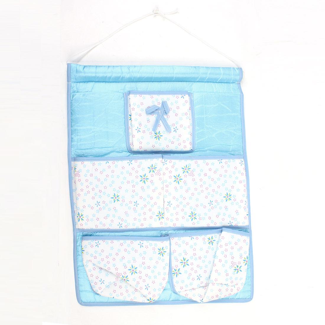 Bowknot Flower Decor 5 Pockets Wall Hanging Organizer Blue Bag