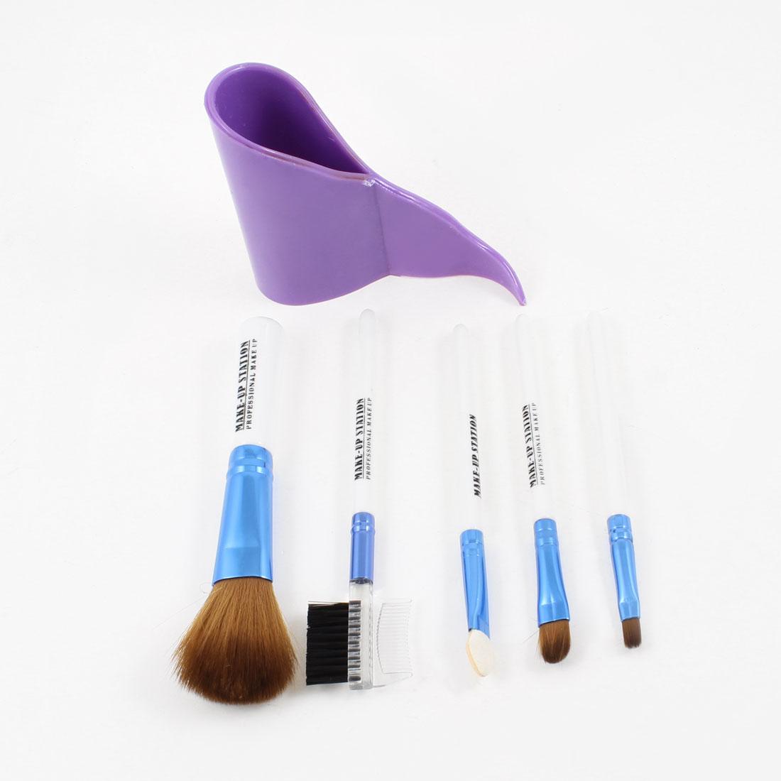 White Blue Plastic Handle Eyeshadow Lip Brushes Set for Lady