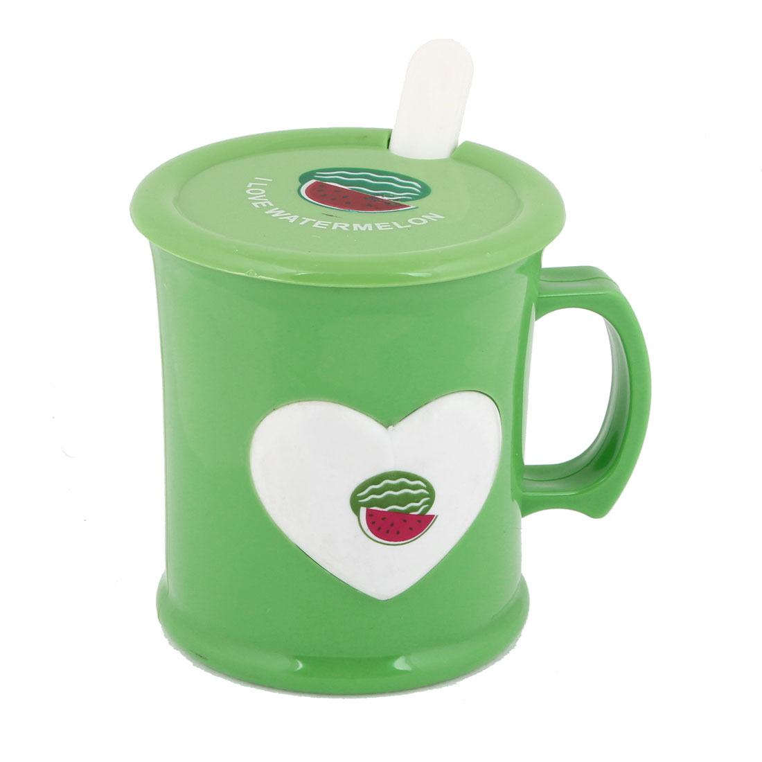 240ml Green White Watermelon Pattern Plastic Water Cup w Round Lid