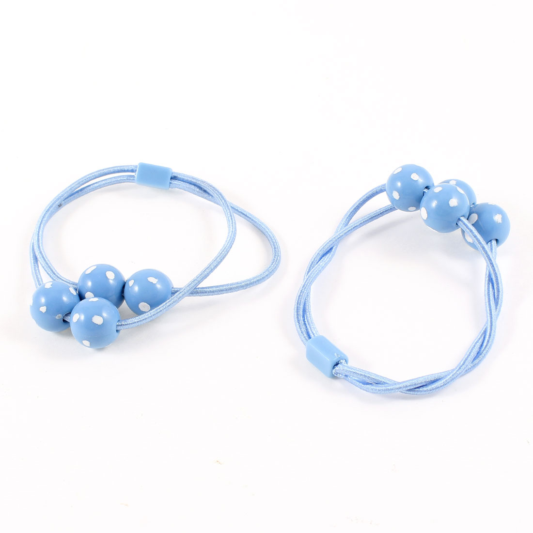 Ligth Blue White Dots Beads Accent Stretch Hair Tie Bands Ponytail Holders Pair