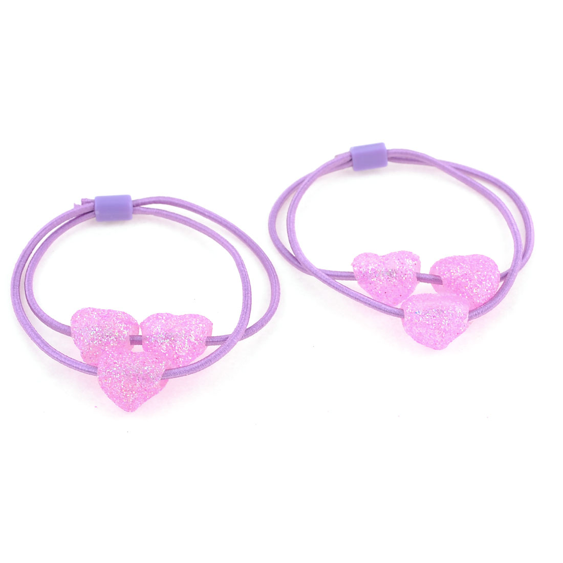 Light Purple Sparkling Heart Beads Decor Elastic Hair Band Ponytail Holder Pair