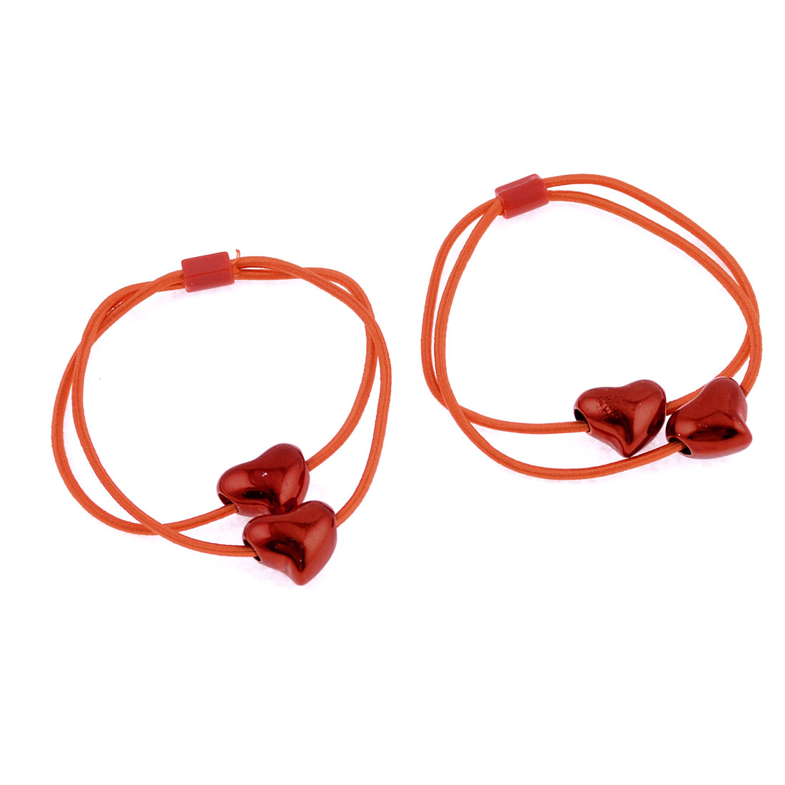 Red Shiny Heart Beads Decor Elastic Hair Tie Ponytail Holder Pair