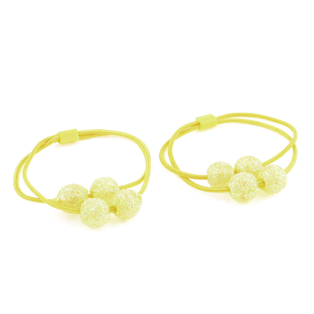 Yellow Glisttery Round Beads Detail Elastic Hair Tie Ponytail Holder Pair