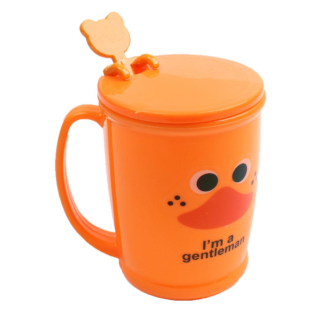 260ml Dark Orange Letter Pattern Plastic Water Cup w Spoon