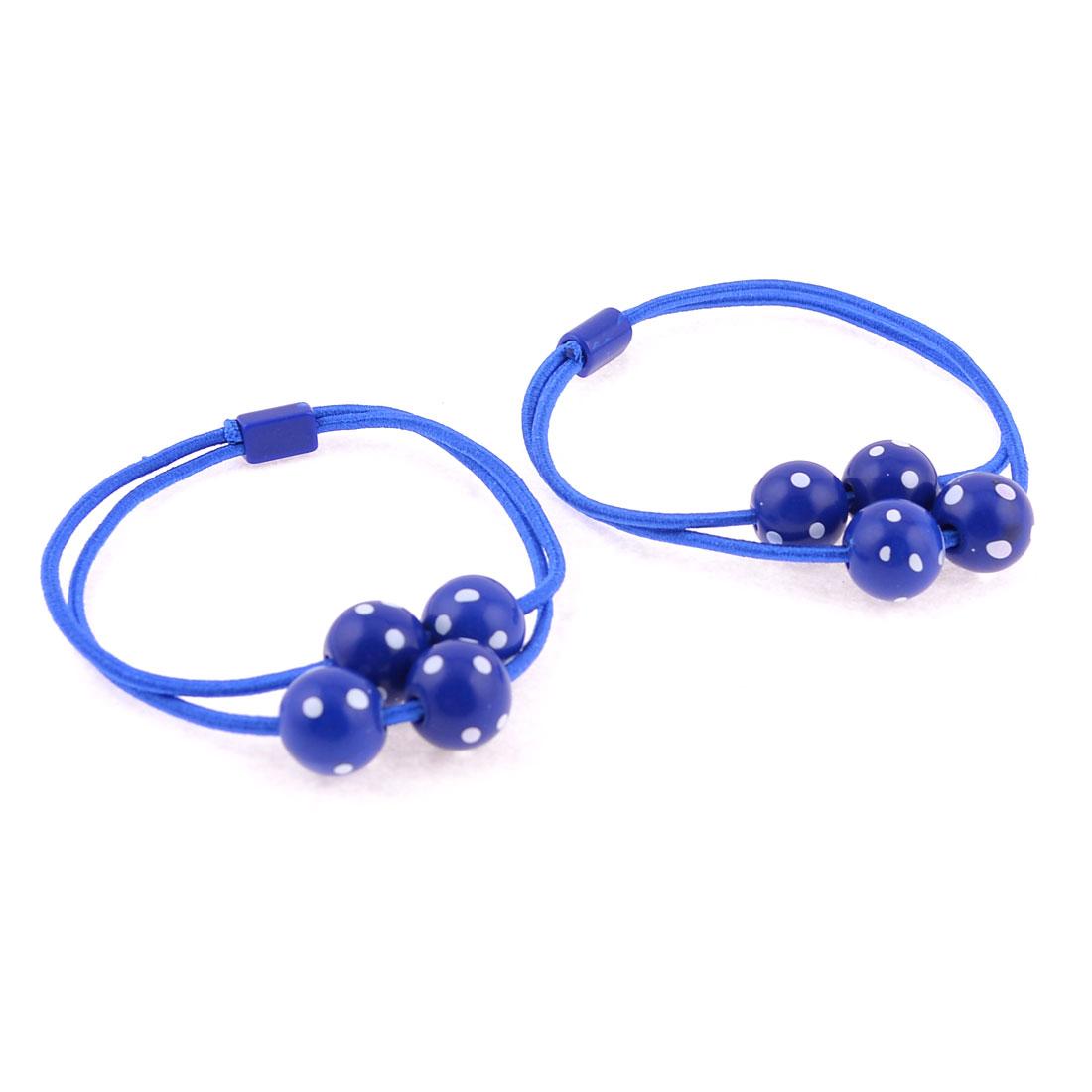 Royal Blue White Dot Circular Bead Detail Flexible Ponytail Holder Pair