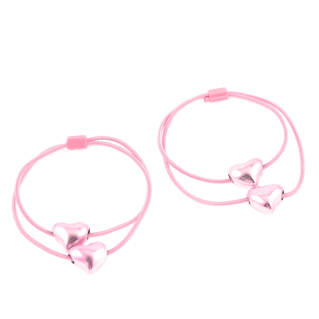 Light Pink Glisten Heart Beads Decorated Flexible Hair Tie Ponytail Holder Pair
