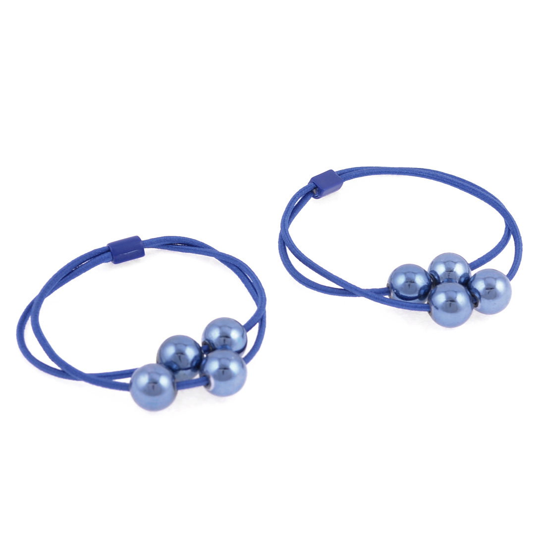 Loyal Blue Glistening Beads Accent Flexible Blue Hair Band Ponytail Holder Pair