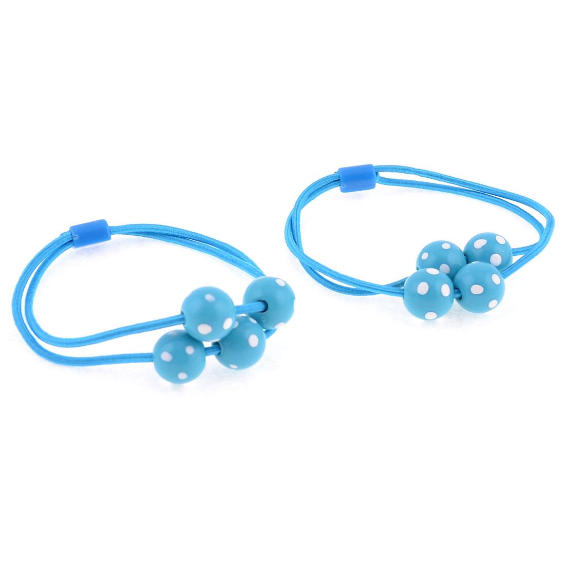 Light Blue White Dot Bead Decor Scrunchy Hair Band Ponytail Holder Pair
